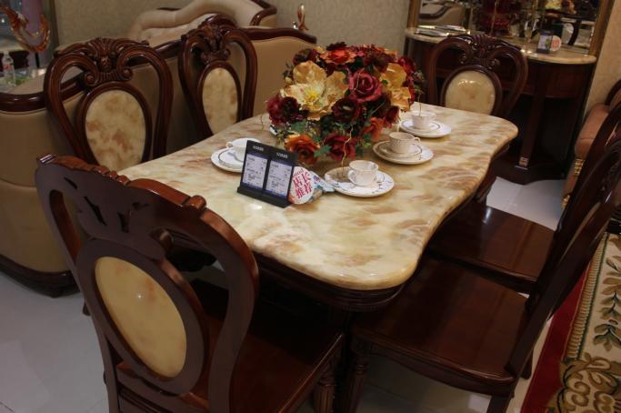 餐桌 全实木雕刻 进口玉石台面