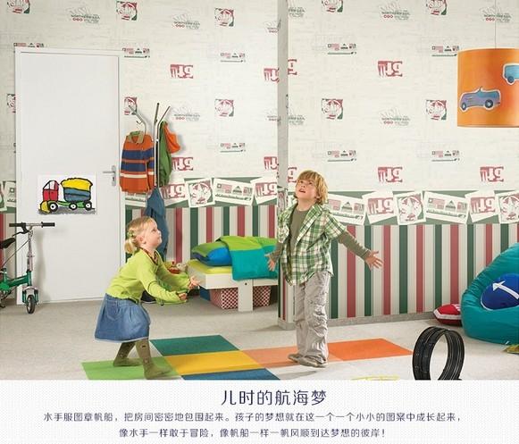儿童房墙纸 可爱音符印花 卧室无纺布壁纸
