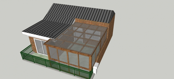 屋顶露台平顶阳光房效果图