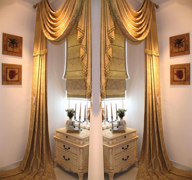 如鱼得水米黄色欧****奢华客厅卧室窗帘