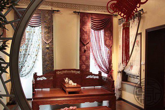 春秋中式装修的窗帘搭配