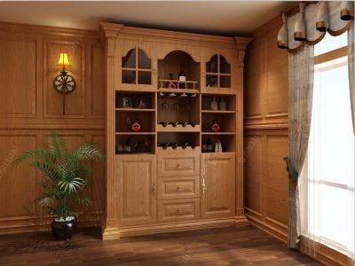 英伦-酒柜+实木护墙板+实木天花
